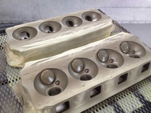 V8 Heads in Booth Thermal Barrier Coating