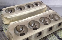 Thermal Barrier Coating V8 Heads in Paint Booth